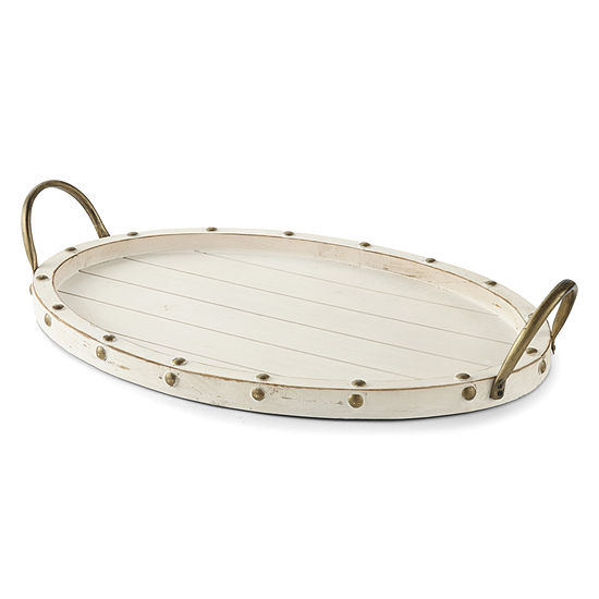 JCPenney Home White Wash Decorative Tray