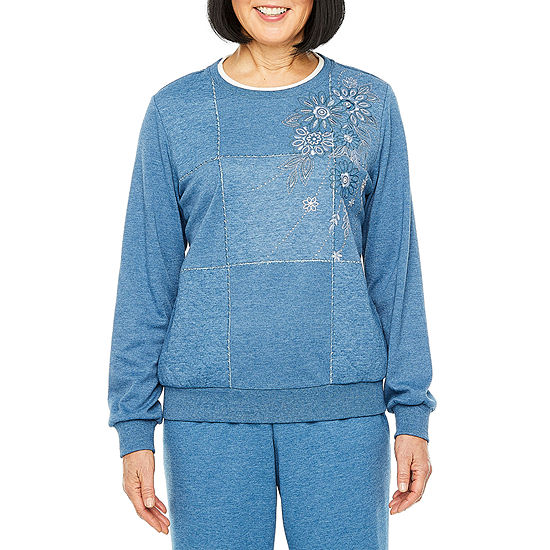 Alfred Dunner All About Ease Womens Crew Neck Long Sleeve Sweatshirt