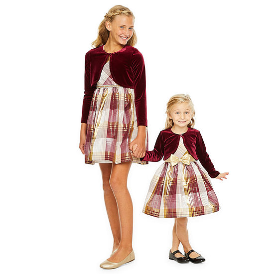 Sister & Me Bonnie Jean Burgundy Plaid Dress