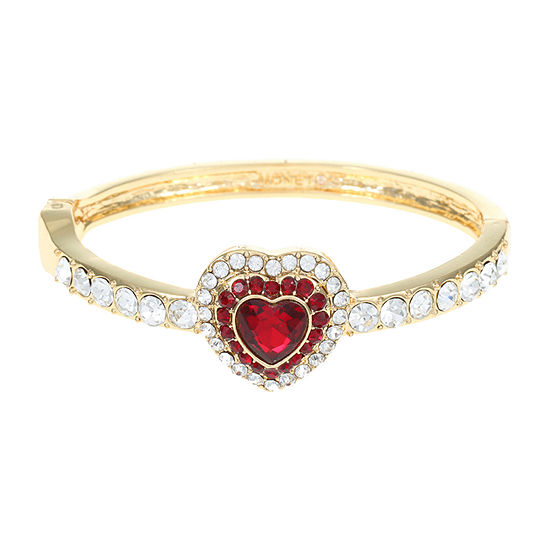 Monet Jewelry Red Cable Heart Stretch Bracelet