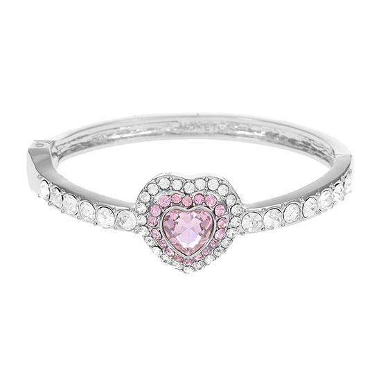 Monet Jewelry Pink Cable Heart Stretch Bracelet