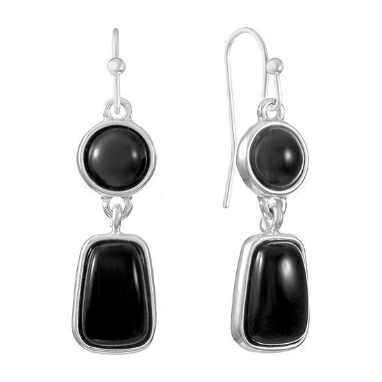 Liz Claiborne 1 Pair Black Drop Earrings