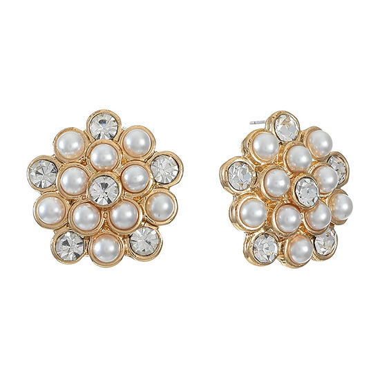 Monet Jewelry Simulated White 17.8mm Stud Earrings