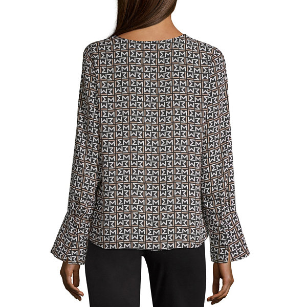 Worthington Womens V Neck Long Sleeve Blouse