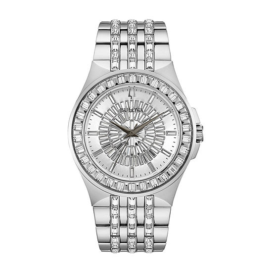 Bulova Phantom Mens Crystal Accent Silver Tone Stainless Steel Bracelet Watch - 96a236