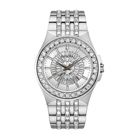 Bulova Phantom Mens Crystal Accent Silver Tone Stainless Steel Bracelet Watch - 96a236, One Size