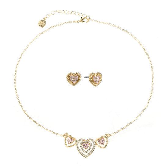Monet Jewelry 2-pc. Pink Heart Jewelry Set