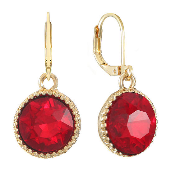 Monet Jewelry 1 Pair Red Round Drop Earrings