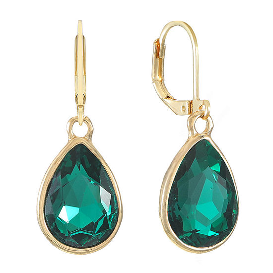 Monet Jewelry 1 Pair Green Pear Drop Earrings