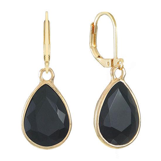 Monet Jewelry 1 Pair Black Pear Drop Earrings