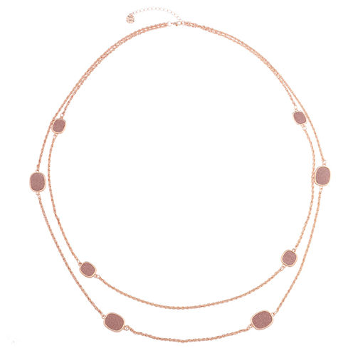 Monet Jewelry Womens Pink And Rose Goldtone Station Necklace