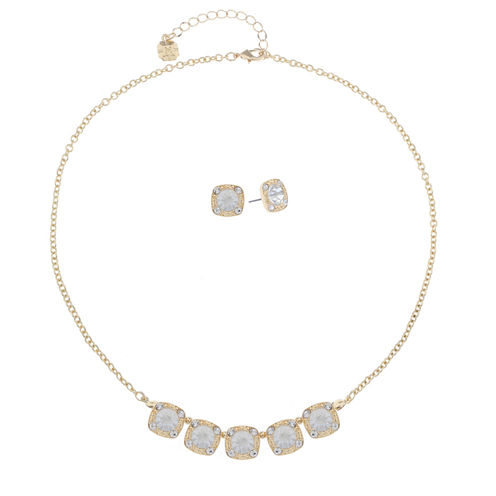 Monet Jewelry Womens 2-pc. Crystal Goldtone Delicate Necklace Set