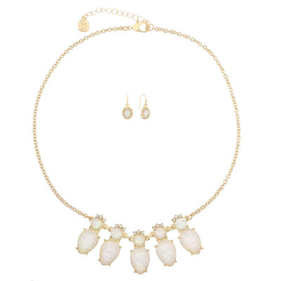 Monet Jewelry Womens 2-pc. Clear Goldtone Frontal Necklace Set