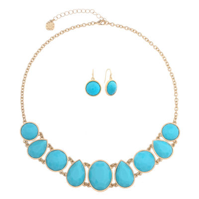 Monet Jewelry Womens 2-pc. Blue Goldtone Casual Collar Necklace Set