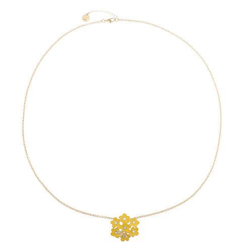 Liz Claiborne Long Flower Pendant Yellow And Goldtone