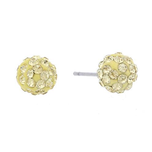 Liz Claiborne Yellow And Goldtone Stud Earring