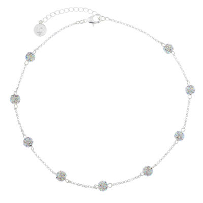 Liz Claiborne Ball Collar Necklace Clear Silvertone