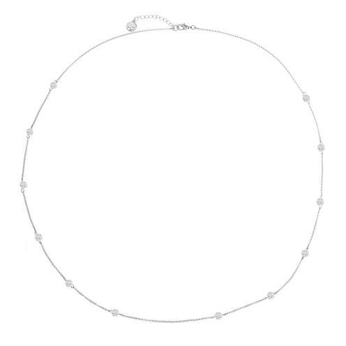 Liz Claiborne Long Ball Necklace Clear Silvertone