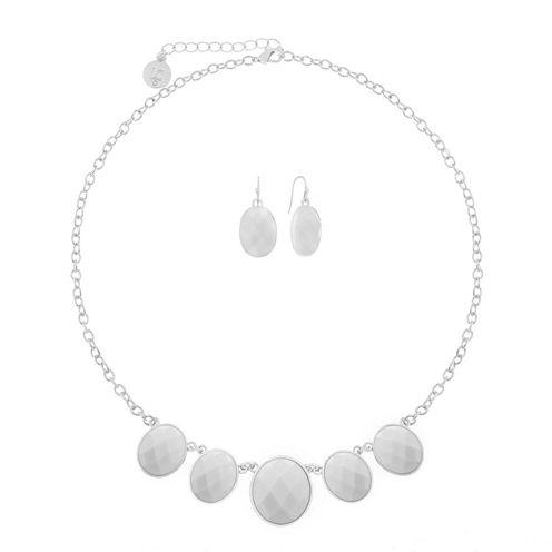 Liz Claiborne Oval Front Line Jewelry Set White Silver