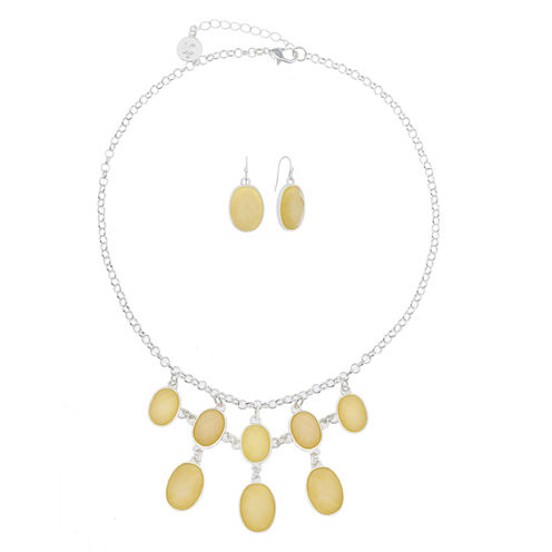Liz Claiborne Womens 2-pc. Yellow Silvertone Shimmer Necklace Set