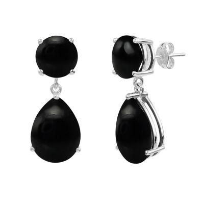 Black Onyx Sterling Silver Drop Earrings