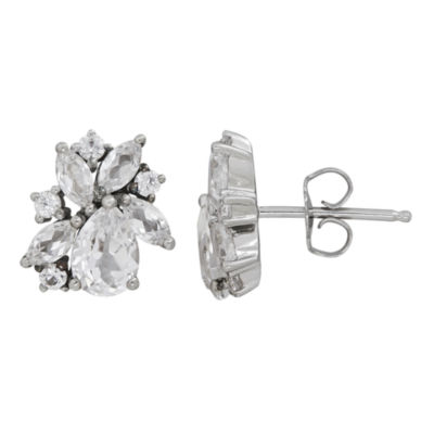 Lab Created White Sapphire Sterling Silver 11.3mm Stud Earrings