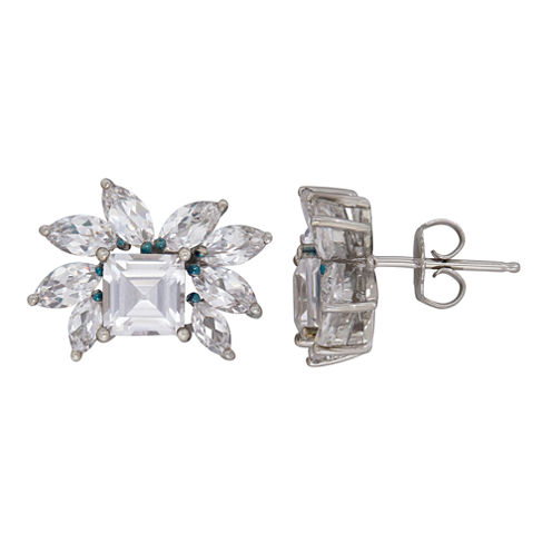 Princess White Sapphire Sterling Silver Stud Earrings