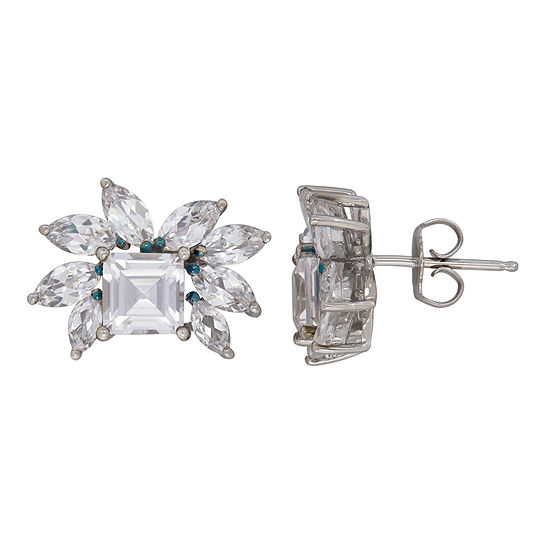 Lab Created White Sapphire Sterling Silver 13.7mm Stud Earrings
