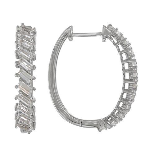 White Sapphire Sterling Silver Hoop Earrings