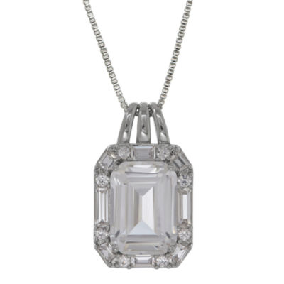 Womens White Sapphire Pendant Necklace