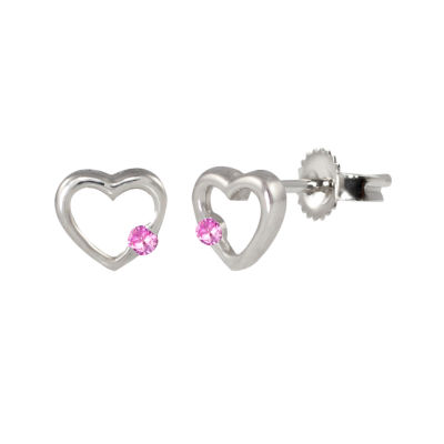 Lab Created Pink Sapphire Sterling Silver 6.8mm Heart Stud Earrings