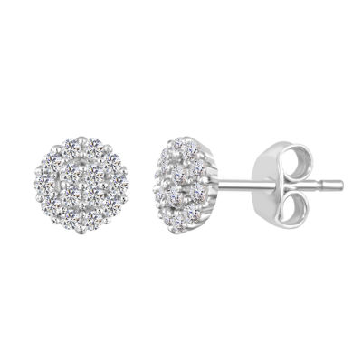 Round White Sapphire Sterling Silver Stud Earrings