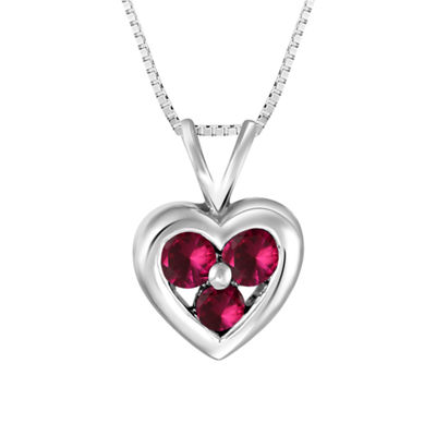 Womens Red Lab-Created  Ruby Sterling Silver Pendant Necklace