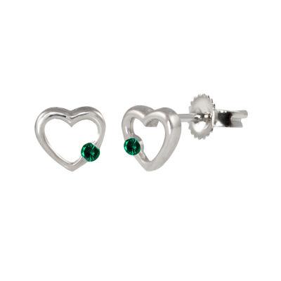 Lab Created Green Emerald Sterling Silver 6.8mm Heart Stud Earrings