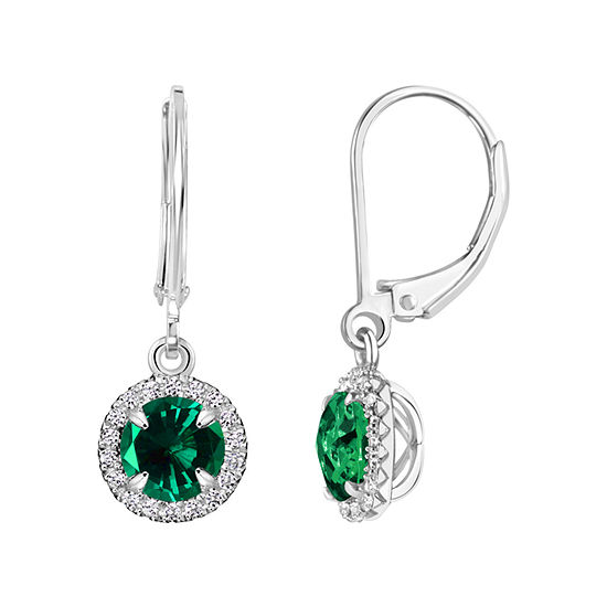 Lab Created Emerald Sterling Silver Drop Earrings