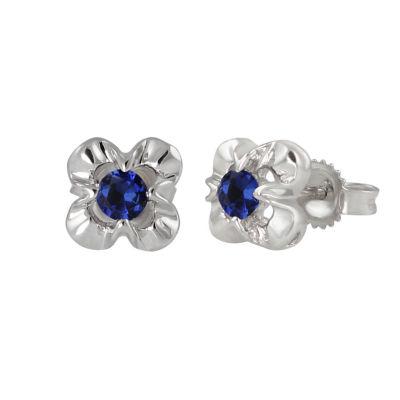 Round Blue Sapphire Sterling Silver Stud Earrings
