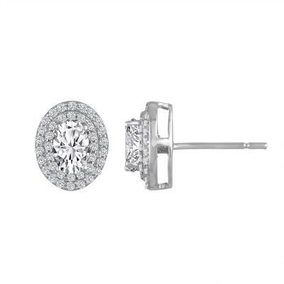 Lab-Created White Sapphire Double Halo Sterling Silver Stud Earrings