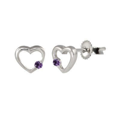 Purple Amethyst Sterling Silver 6.8mm Heart Stud Earrings