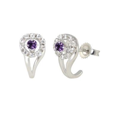 Purple Amethyst Sterling Silver 12.9mm Hoop Earrings
