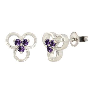 Purple Amethyst Sterling Silver 8.6mm Flower Stud Earrings