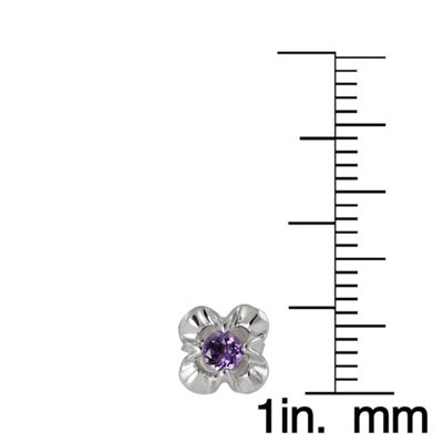 Purple Amethyst Sterling Silver 7.6mm Flower Stud Earrings