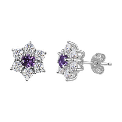 Purple Amethyst Sterling Silver 11.4mm Flower Stud Earrings