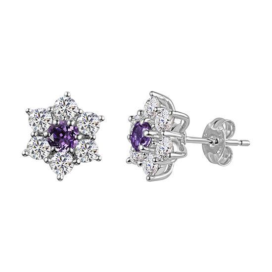 Purple Amethyst Sterling Silver 11.4mm Flower Stud Earrings