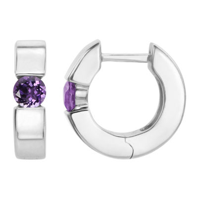 Purple Amethyst Sterling Silver 14.4mm Hoop Earrings