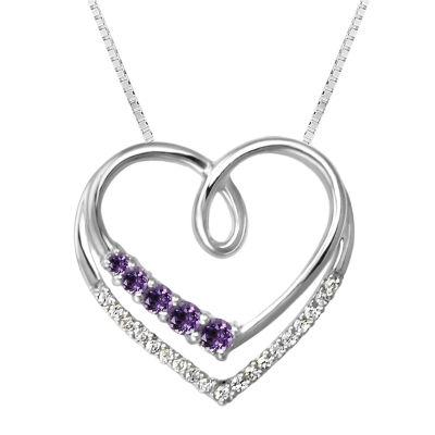 Womens Purple Amethyst Sterling Silver Heart Pendant Necklace