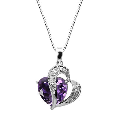 Womens Purple Amethyst Sterling Silver Heart Pendant Necklace