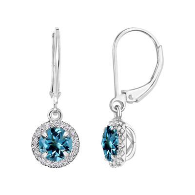 Blue Topaz Sterling Silver Drop Earrings