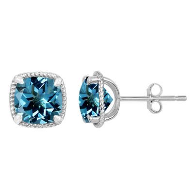 Cushion Blue Blue Topaz Sterling Silver Stud Earrings