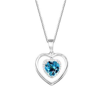 Womens Blue Blue Topaz Sterling Silver Pendant Necklace