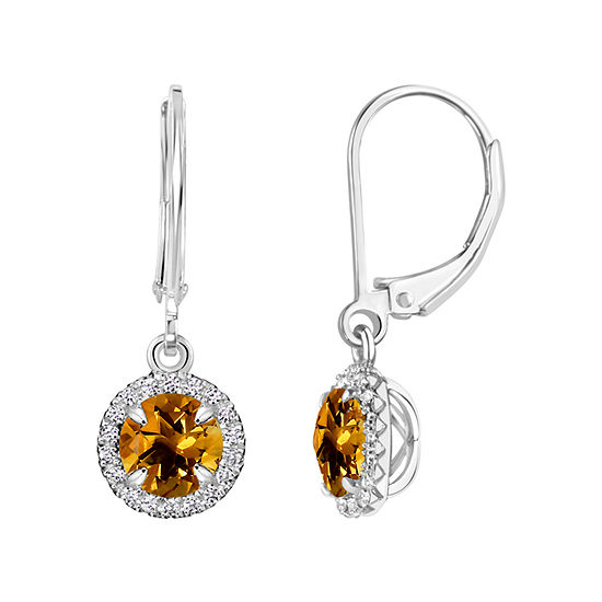 Genuine Yellow Citrine Sterling Silver Drop Earrings